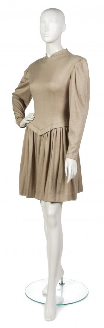 13: A Pauline Trigere Taupe Cashmere Dress,