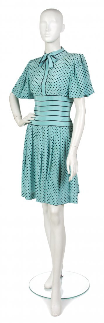 15: A Pauline Trigere Teal and Black Silk Dress,