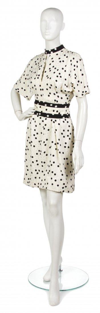 18: A Pauline Trigere Cream and Black Silk Dress,