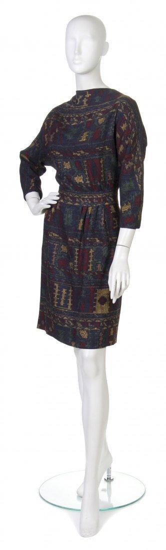 19: A Pauline Trigere Multicolor Wool Dress,