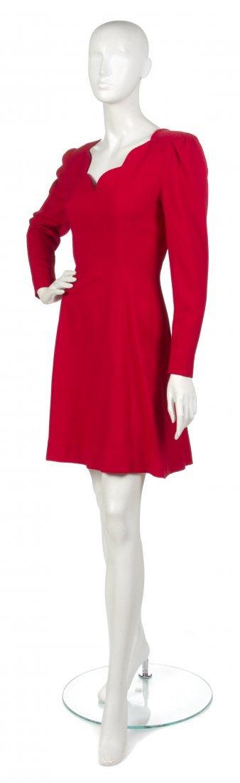 20: A Pauline Trigere Red Wool Crepe Dress,
