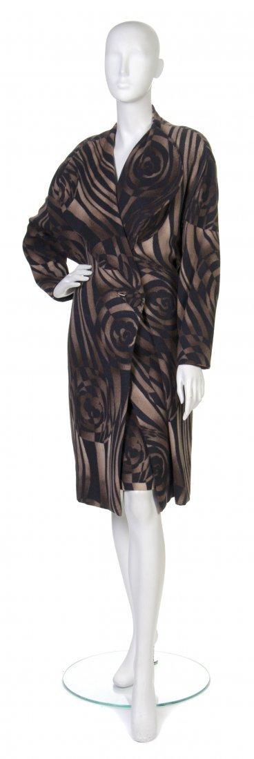 22: A Pauline Trigere Brown and Black Swirl Print Wool