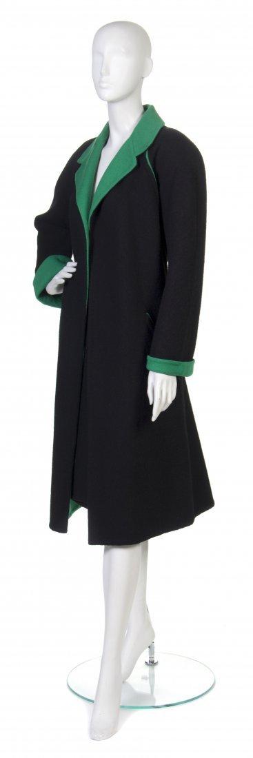 23: A Pauline Trigere Black and Green Skirt Ensemble,