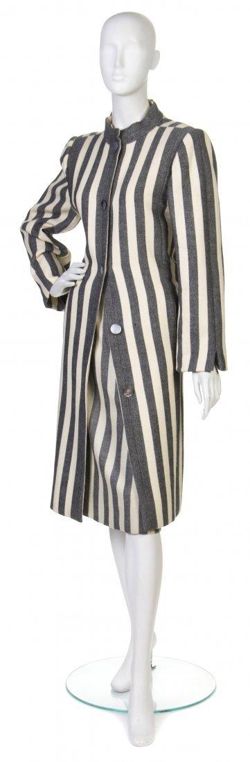 24: A Pauline Trigere Cream and Black Striped Wool Skir