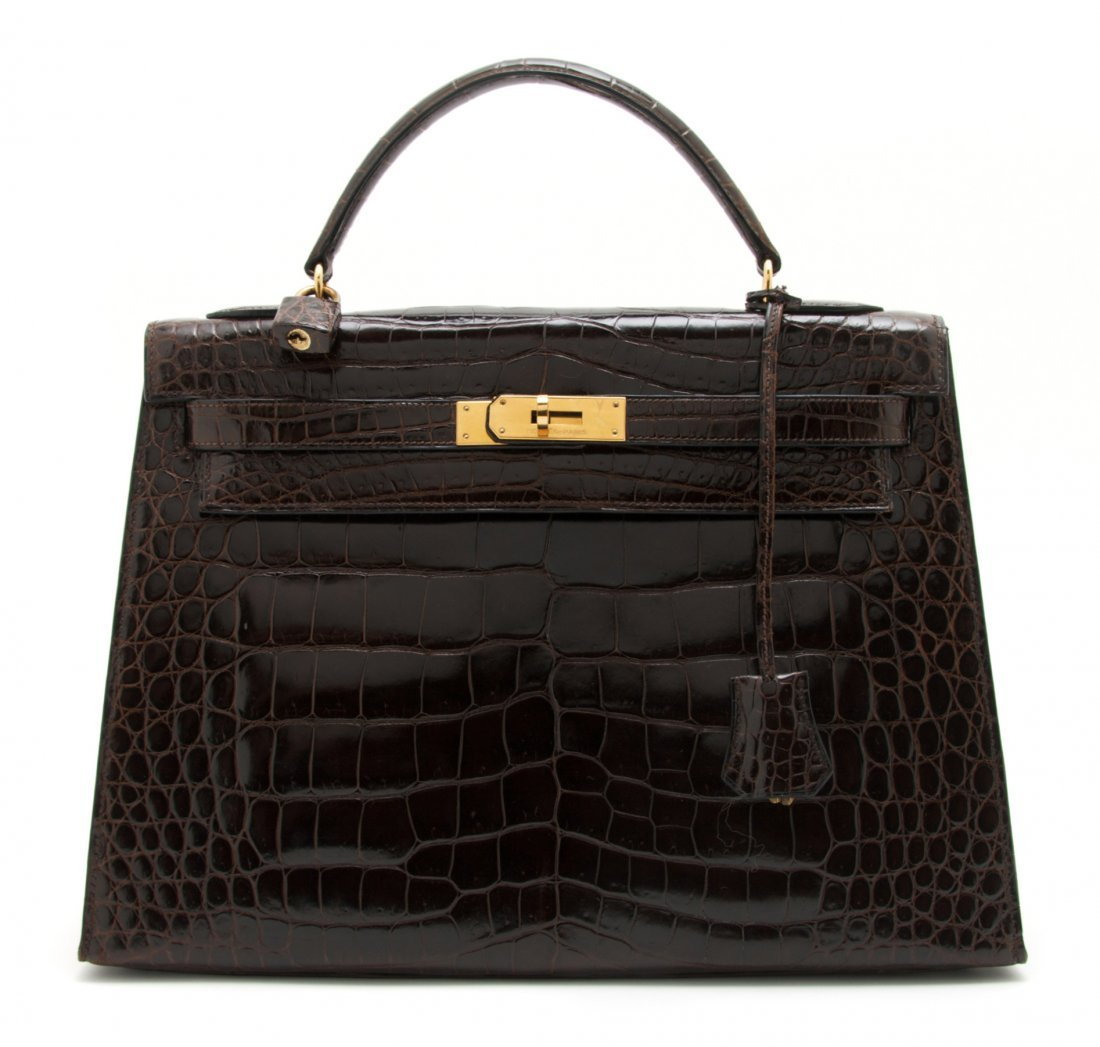 577: An Hermes Brown Crocodile Kelly Bag, 32 x 24 x 12