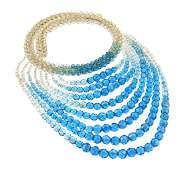 644 A Coppola E Toppo Blue and Clear Bead Multistrand