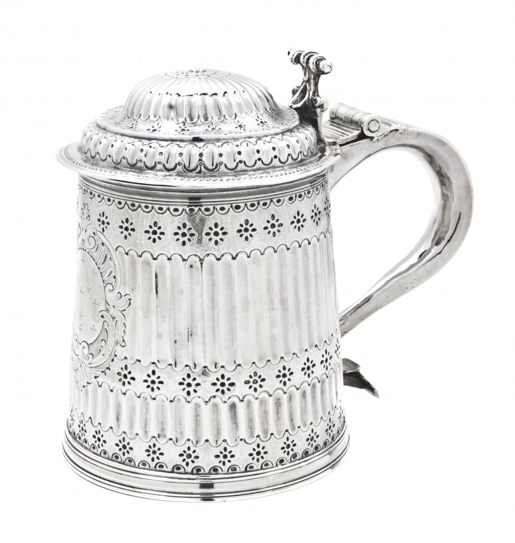 1: A William and Mary Silver Tankard, Height 6 1/2 inch