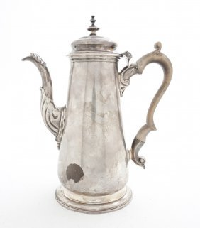 4: A George II Silver Coffee Pot, Height 9 1/4 inches.