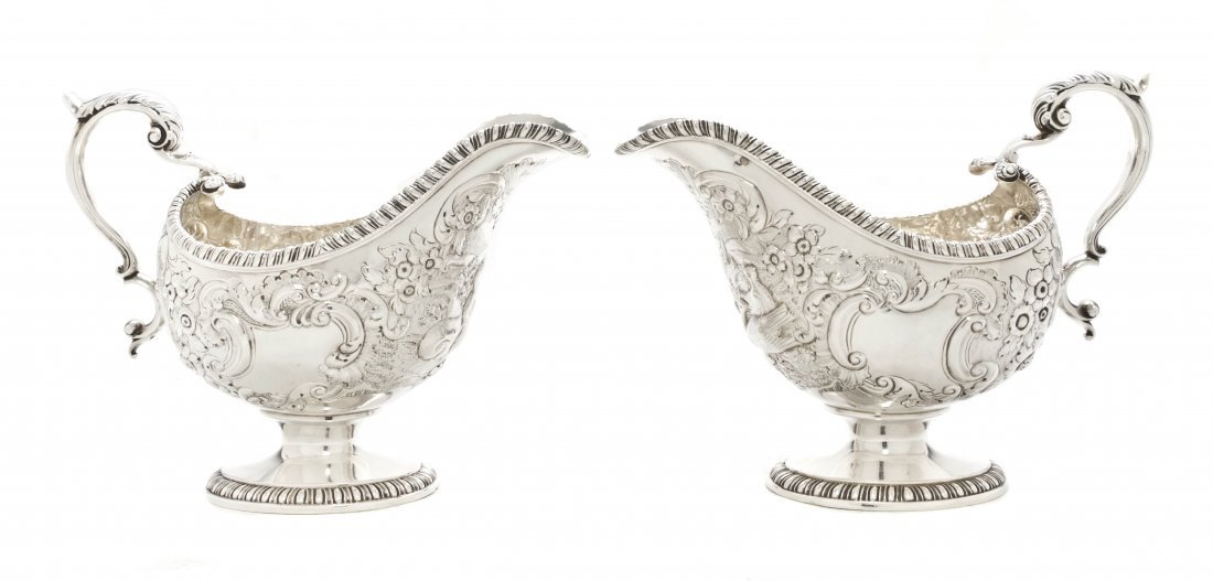 12: A Pair of George III Silver Sauce Boats, John Swift