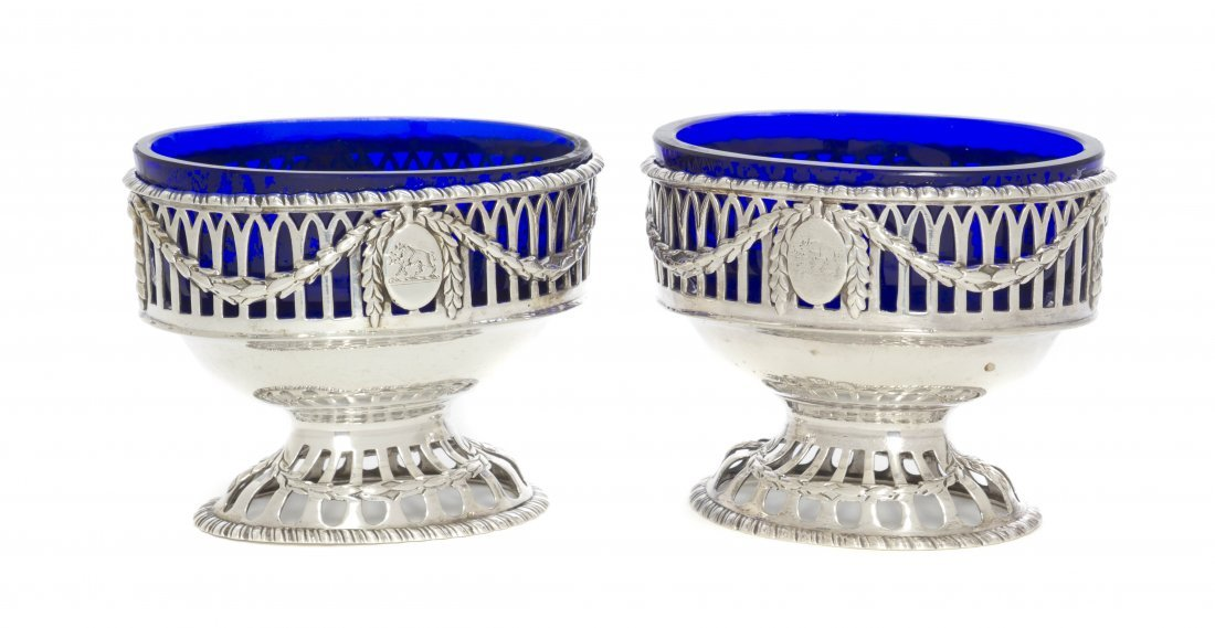 17: A Pair of George III Silver Salt Cellars, Robert He