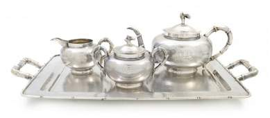 226 An Assembled FourPiece Chinese Sterling Silver Te