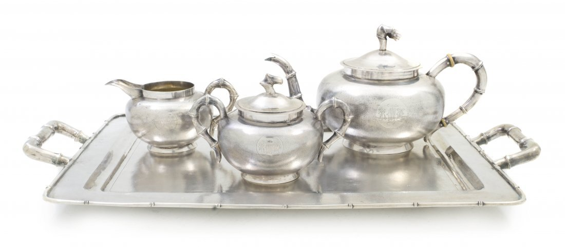 226: An Assembled Four-Piece Chinese Sterling Silver Te