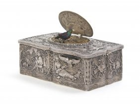 324: A German Silver Singing Bird Automaton Box, Karl G