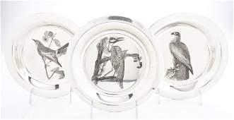 664: Seven American Sterling Silver Audubon Plates, Fra
