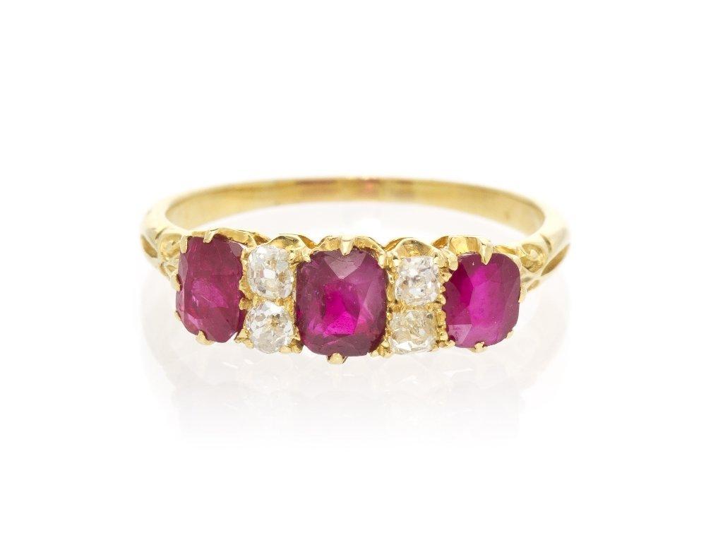 2: An Edwardian 18 Karat Yellow Gold, Ruby and Diamond