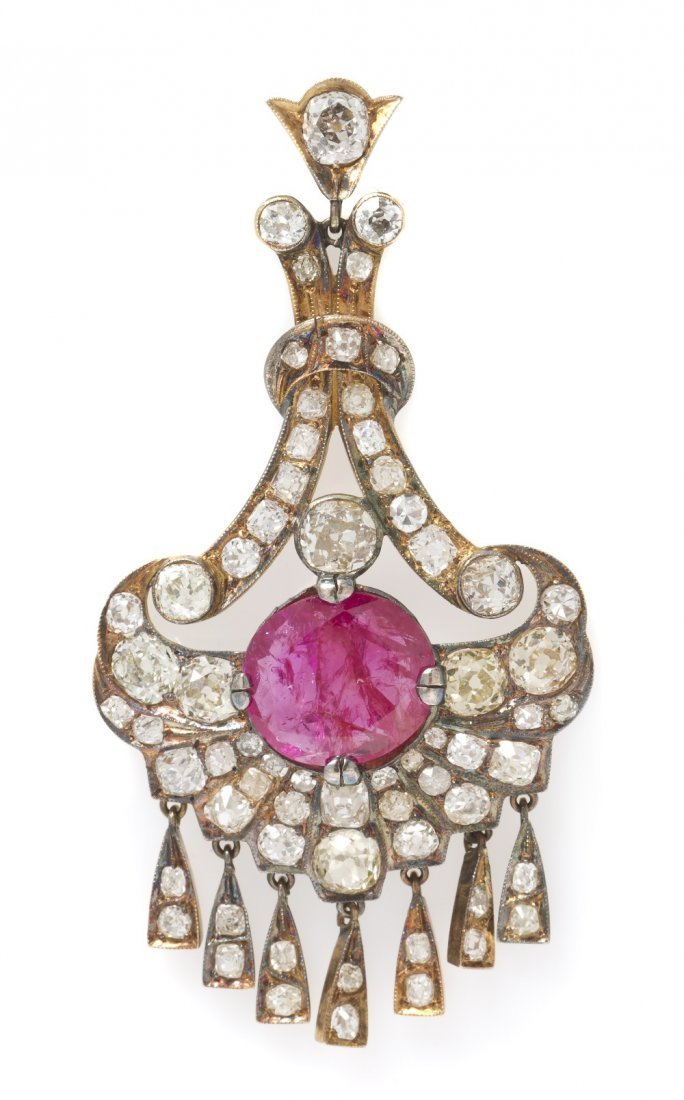 4: A Victorian Silver Topped Gold, Ruby and Diamond Pen