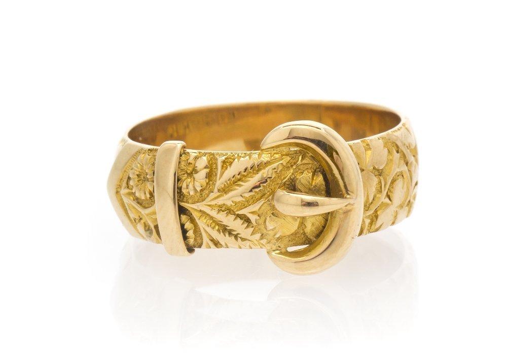 6: An 18 Karat Yellow Gold Belt Motif Ring, Circa 1918,