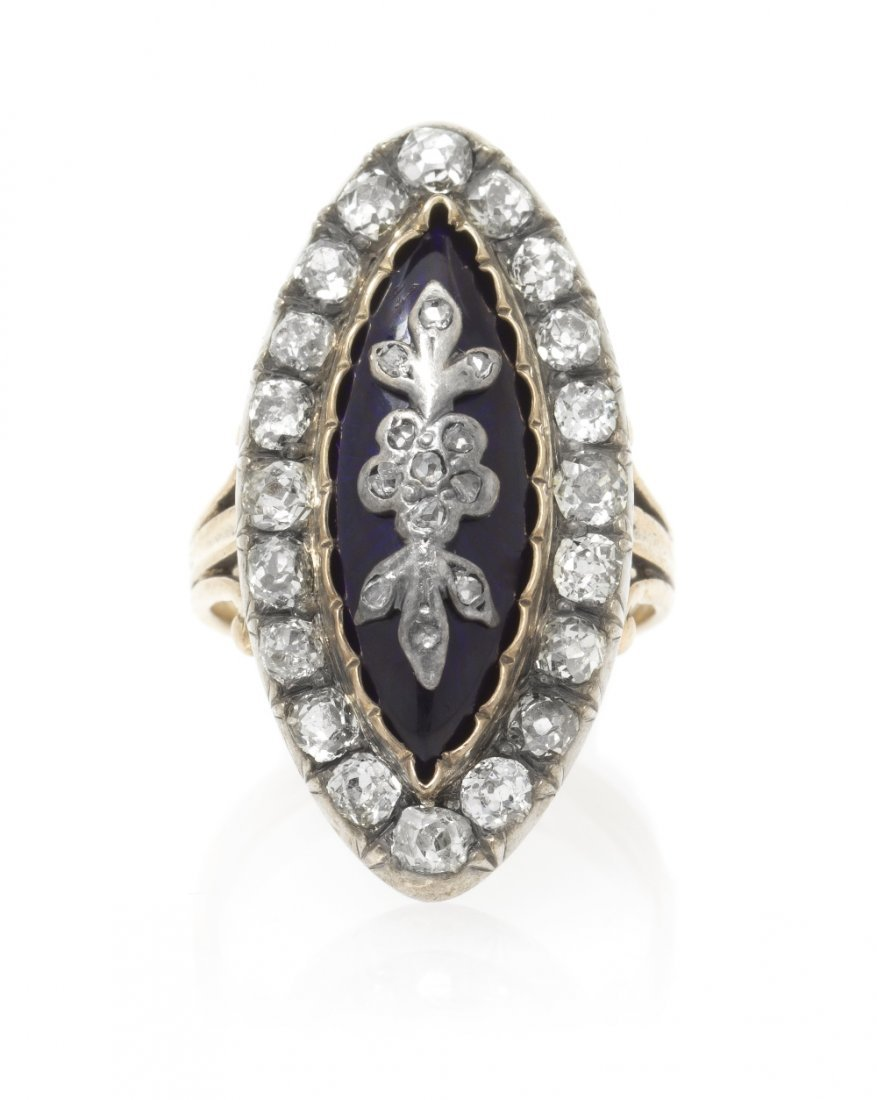 8: A Victorian Silver Topped Gold, Diamond and Enamel R