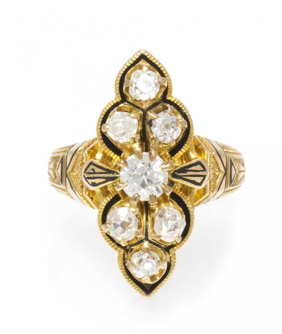 11: An Edwardian 18 Karat Yellow Gold, Diamond and Enam