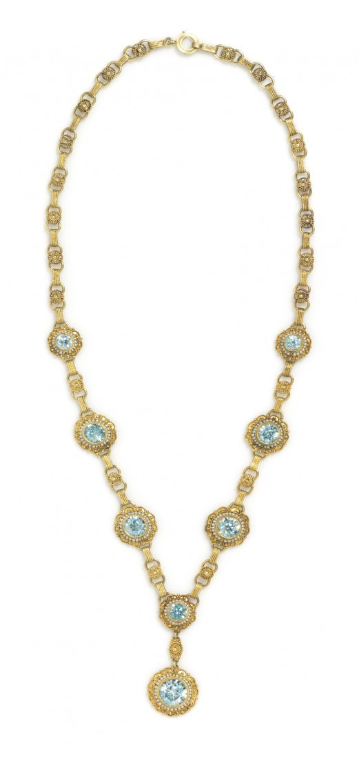 12: A Victorian Yellow Gold, Zircon and Seed Pearl Neck
