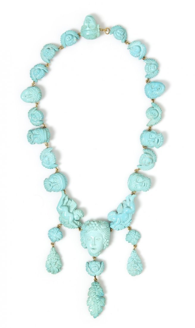 20: An 18 Karat Yellow Gold and Carved Turquoise Neckla