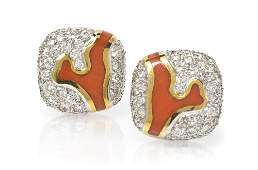 151 A Pair of Platinum Diamond and Coral Earrings An