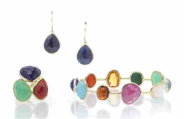 A Collection of 18 Karat Yellow Gold and Gem Jewel