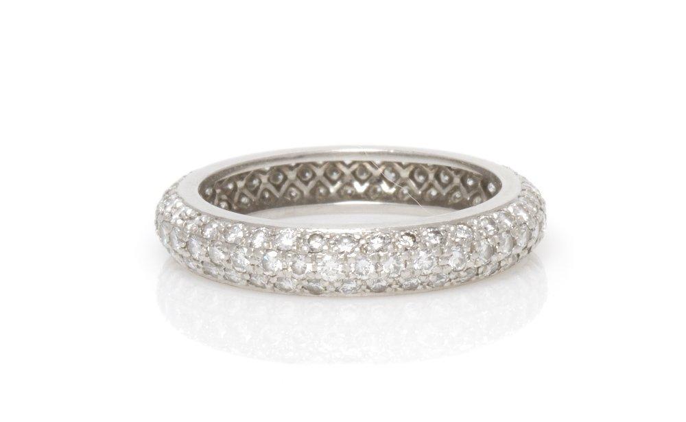 434: A Platinum and Diamond Band, Cartier, 3.00 dwts.