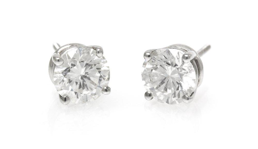 440: A Pair of Platinum and Diamond Stud Earrings, Tiff