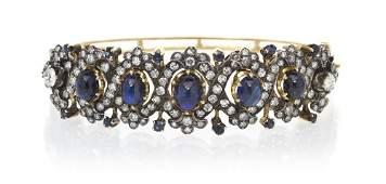 459: An Antique 18 Karat Yellow Gold, Sapphire and Diam