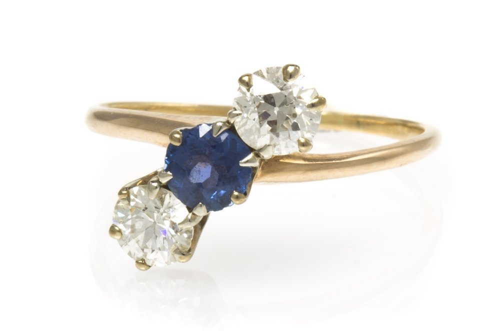 474: A Vintage Yellow Gold, Diamond and Sapphire Ring,
