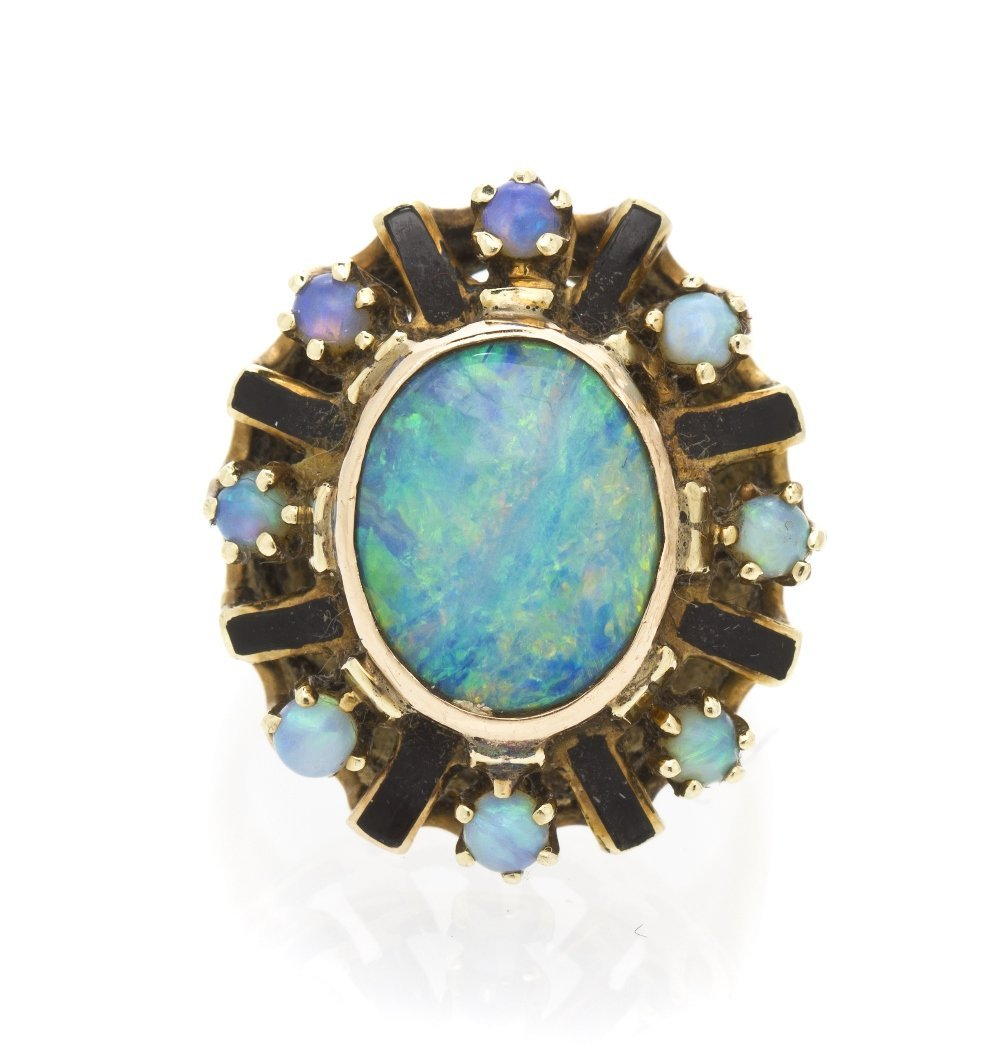 477: A 14 Karat Yellow Gold, Enamel and Opal Ring, 5.30