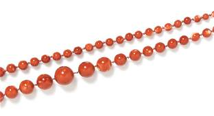571 A Single Strand Graduated Coral Bead Necklace