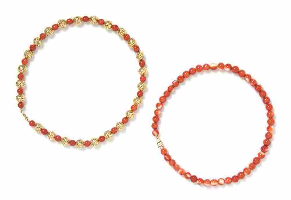 632: A Collection of Coral Bead Necklaces,