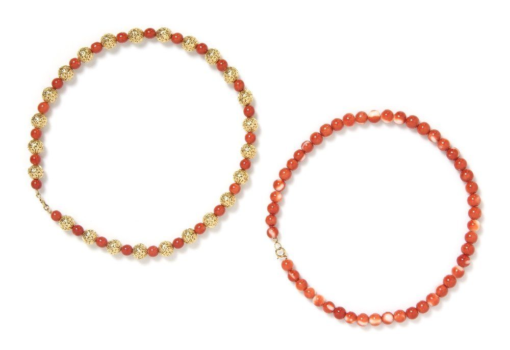 A Collection of Coral Bead Necklaces,