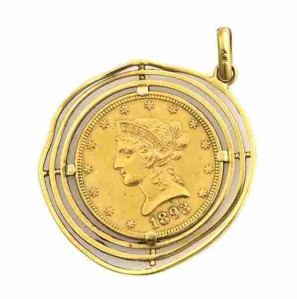 An 18 Karat Yellow Gold and US $10 Gold Coin Penda