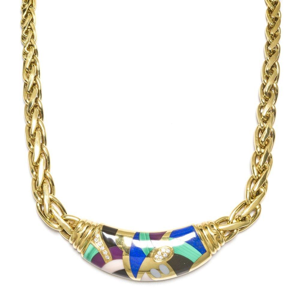956: An 18 Karat Yellow Gold, Multi Gem and Diamond Nec