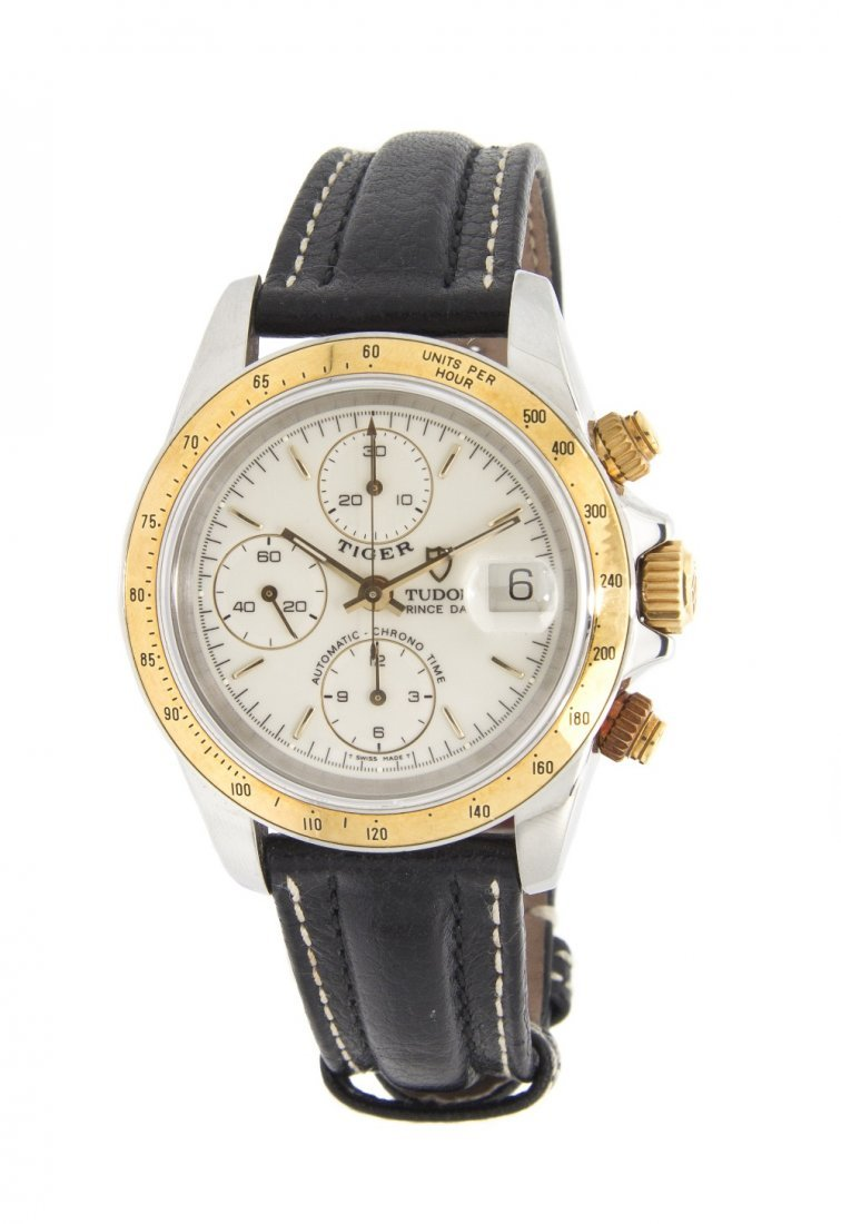 22: A Yellow Gold and Stainless Steel Chronograph Tiger