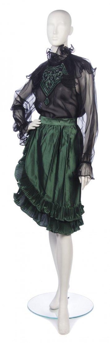 1: A Balestra Green and Black Silk Cocktail Ensemble, S