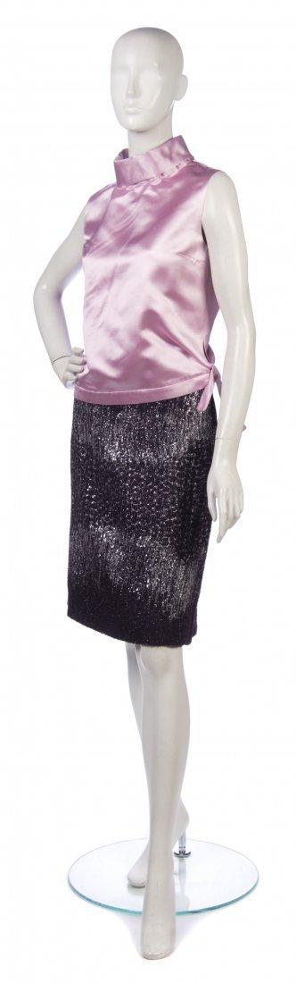 2: A Balmain Aubergine Wool and Silver Lurex Knit Skirt
