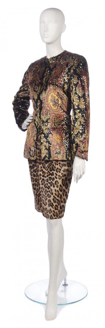 3: A Bill Blass Mixed Print Evening Suit, Size 10.