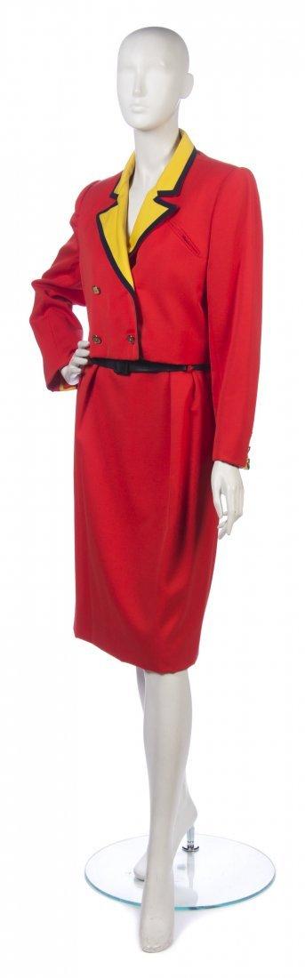 4: A Bill Blass Color Block Skirt Suit, Size 12.