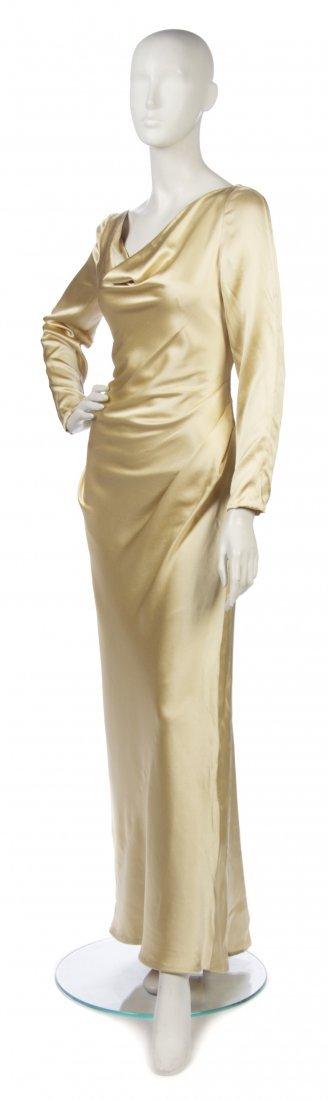 5: A Bill Blass Gold Silk Evening Gown, Size 10.