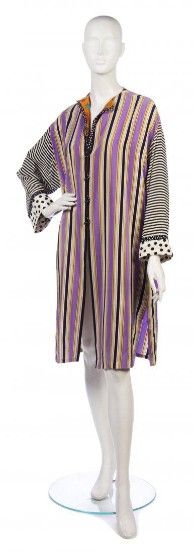 7: A Bill Blass Multicolor Stripe Silk Tunic, Size 10.