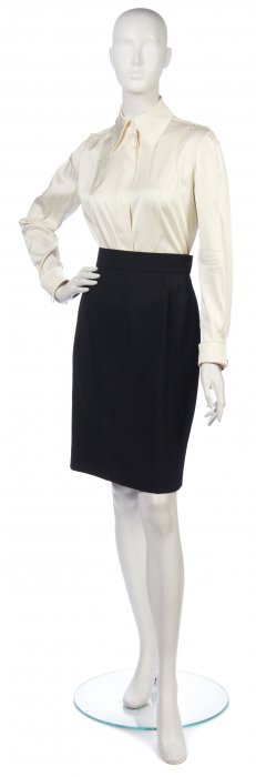A Claude Montana Black Wool Skirt Suit, Size 42.