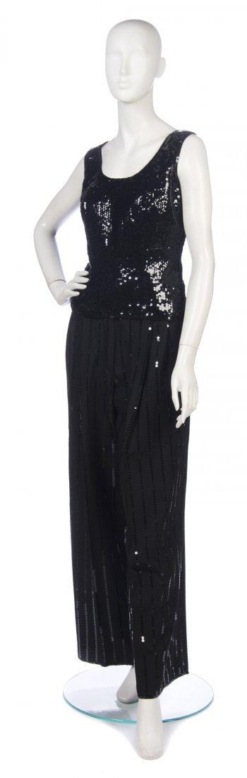 13: A Christian Dior Black Sequin Evening Suit, Size 42