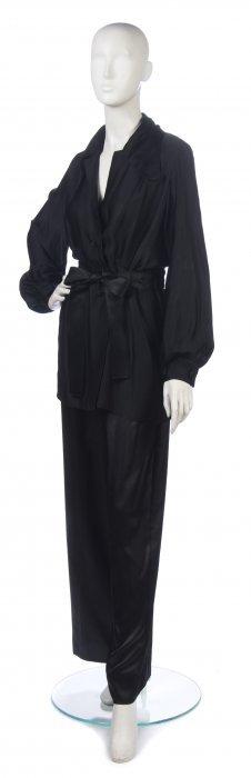 A Christian Dior Couture Black Silk Pants Ensemble,