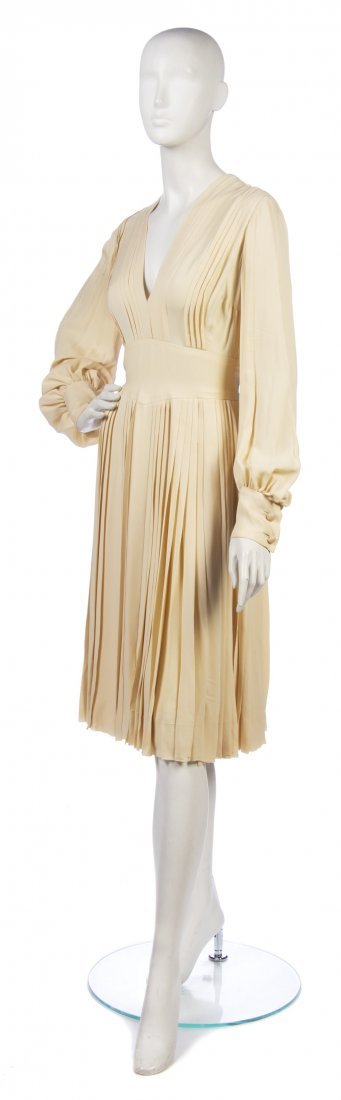 16: A Christian Dior Couture Cream Silk Dress, Size 10.