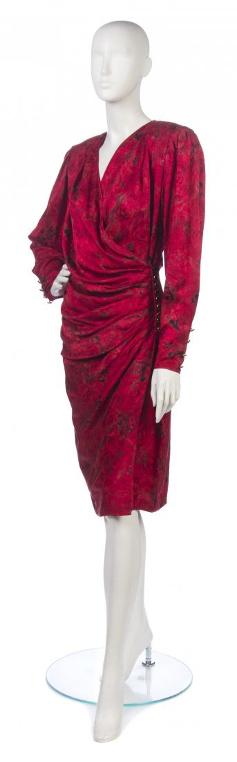 22: An Emanuel Ungaro Red Printed Silk Cocktail Dress,