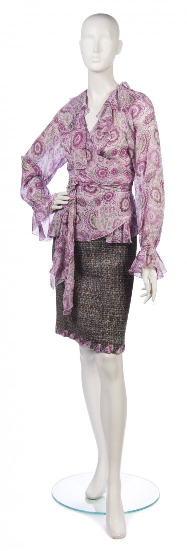 24: An Ungaro Fever Multicolor Tweed Skirt Suit, Size 4